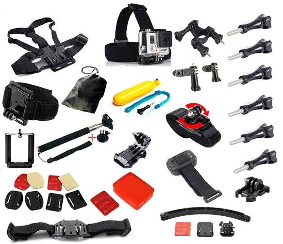 Go pro Hero Accessories Set Helmet Harness Chest Belt Mount Strap Monopod For Gopro hero4 3+ xiaomi yi sjcam sj5000 plus