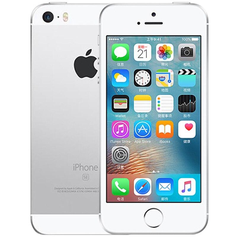 Разблокированный Apple iphone SE, мобильный телефон, 4 аппарат не привязан к оператору сотовой связи 4,0 '2 Гб Оперативная память 16/64GB Встроенная память A9 двухъядерный за счет сканера отпечатков пальцев Подержанный мобильный телефон iphone se - Цвет: A1723 Silver