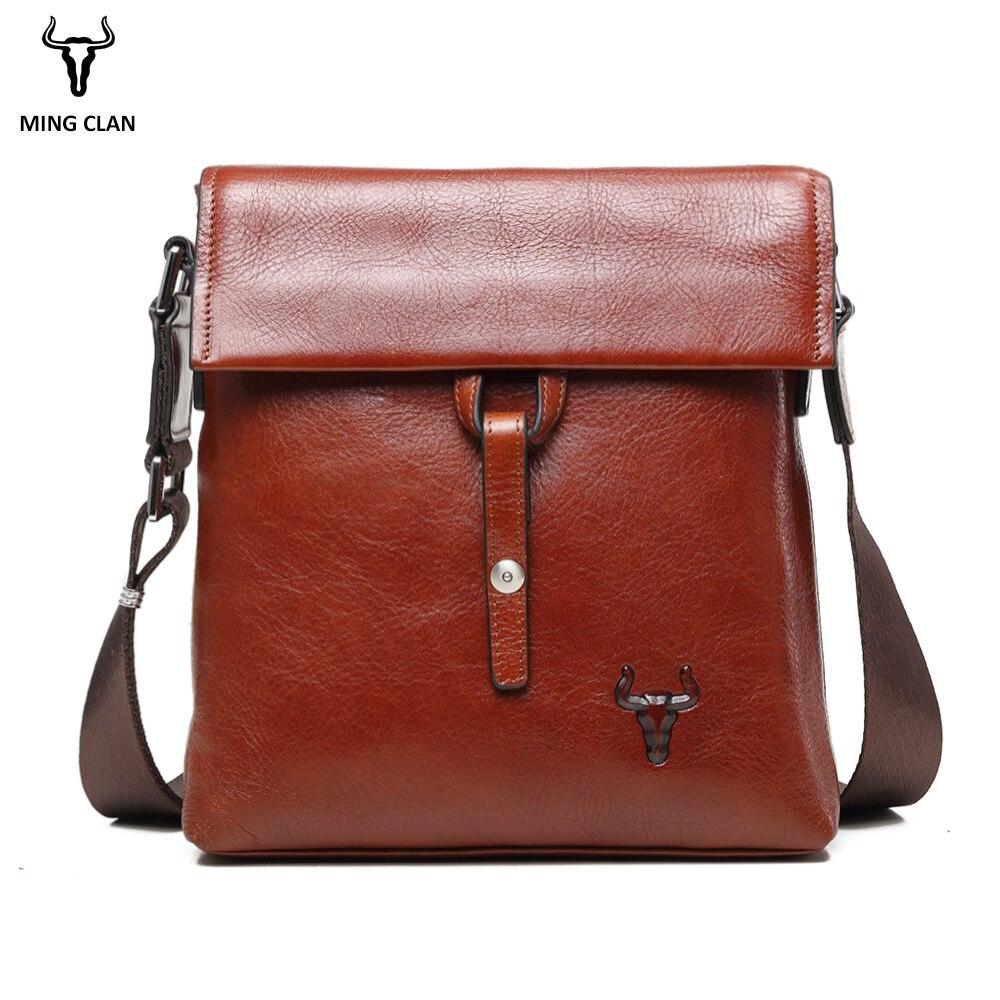 Mingclan en cuir véritable hommes Messenger sac tablettes hommes sac à bandoulière sac à main Vintage sacs à bandoulière homme mallette sacs en cuir