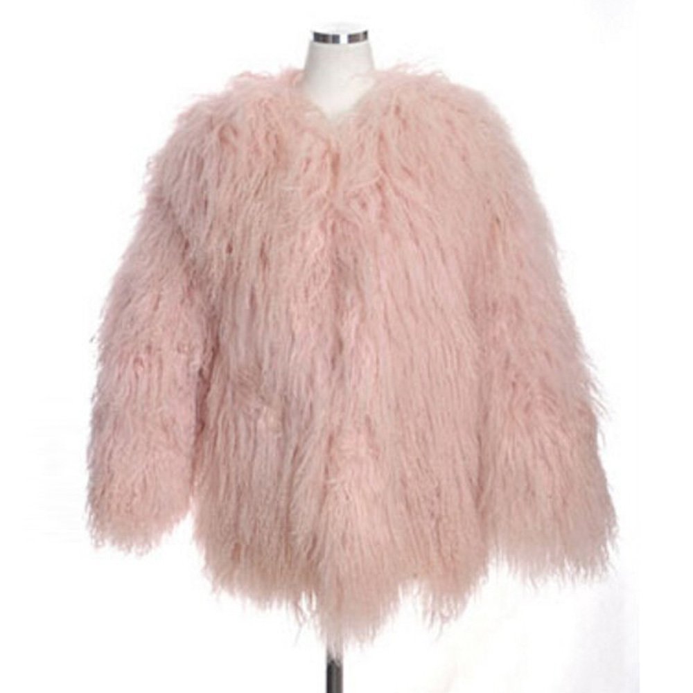 Online Shop Stylish Pink Faux Sheep Fur Coat Long Hairy Jacket ...