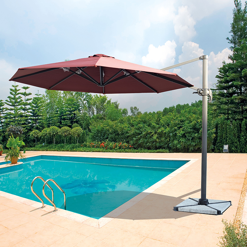 Dia 3 meter aluminum cantilever garden umbrella parasol cover patio sunshade 360 degrees rotation ( no stone base ) bluerise modern outdoor umbrella garden patio sunshade 6 bones folding advertising beach garden tent umbrella villa garden