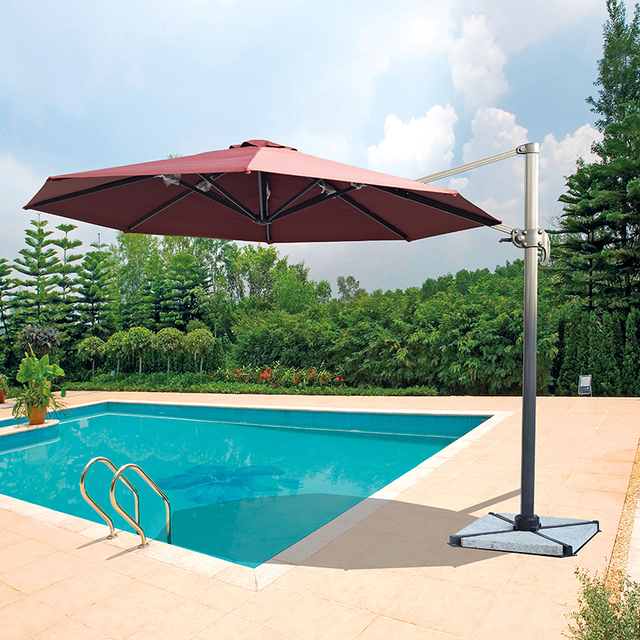 Dia 3 Meter Aluminum Cantilever Garden Umbrella Parasol Cover Patio  Sunshade 360 Degrees Rotation ( No