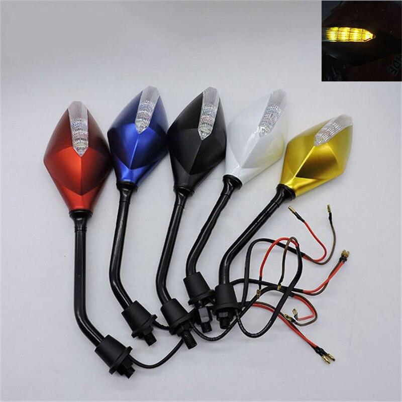 5 couleurs disponibles turn signal lumineux moto rétroviseurs scooter indicateur pour honda yamaha moto benelli miroir