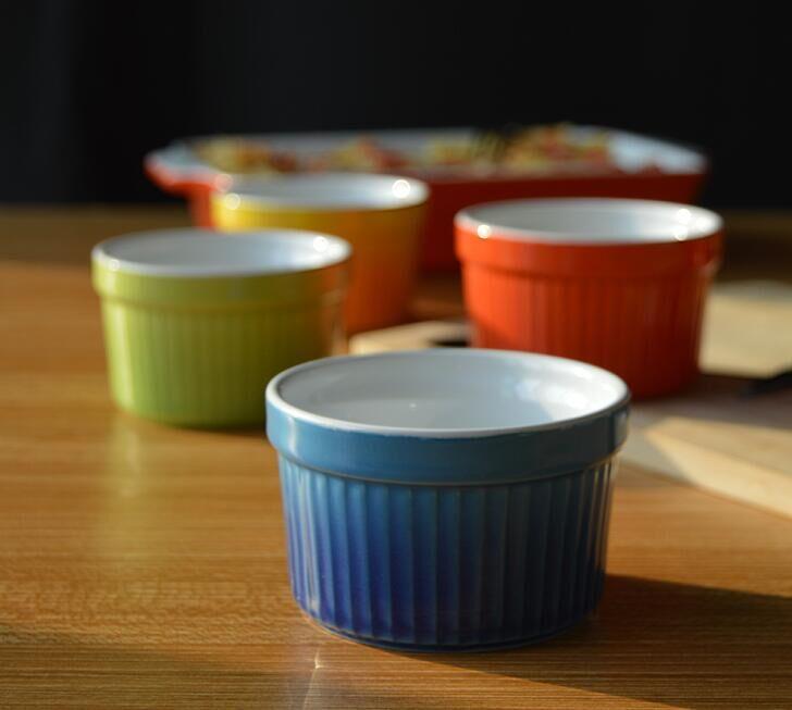 Set Of 4 Ceramic Ramekin Mixed Color Strip Cake Cup