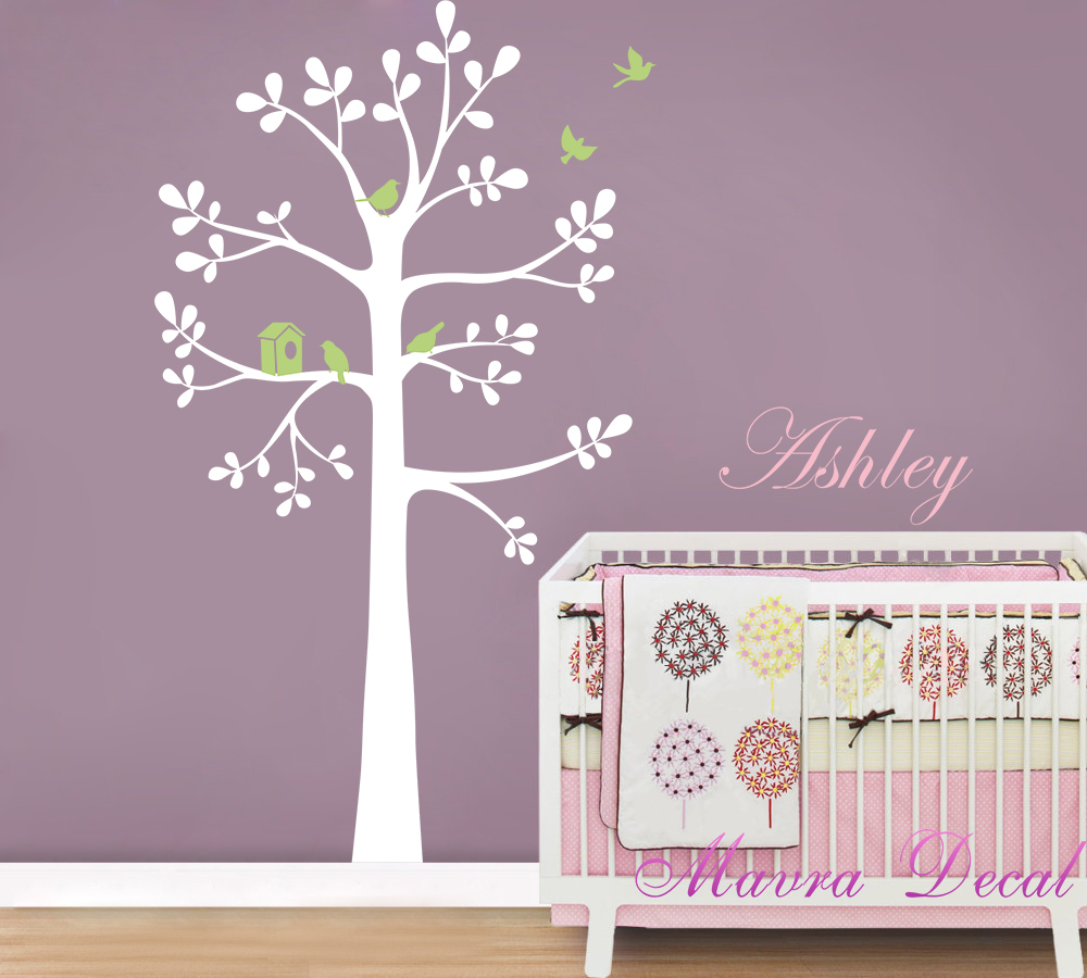 Extra Large 119 x190 cm Personalized name Tree brids Baby room Nursery Wall Stickers Art Decals Kid - Mavra Decal store