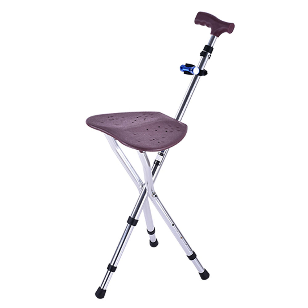 Adjustable Hiking Walking Stick Folding Cane Seat Thick Cane Stool Crutch Chair Seat 3 Legs Cane