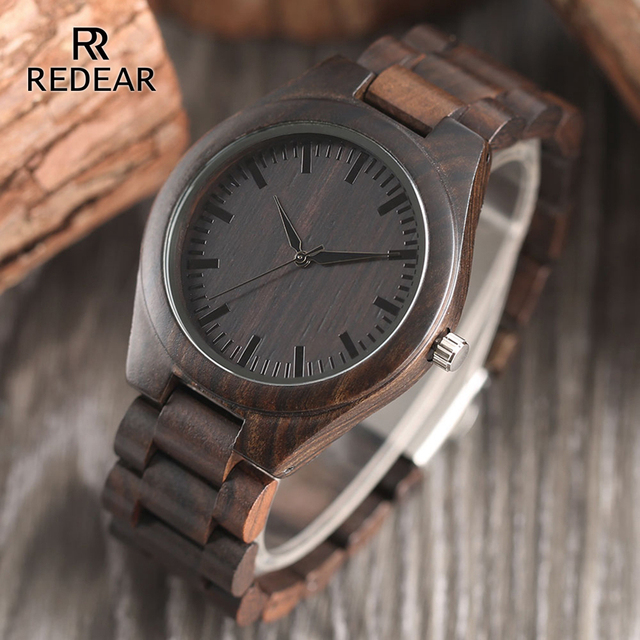 REDEAR Handmade Black Sandalwood Watches Lover's Watches Cool Nature Wood Quartz