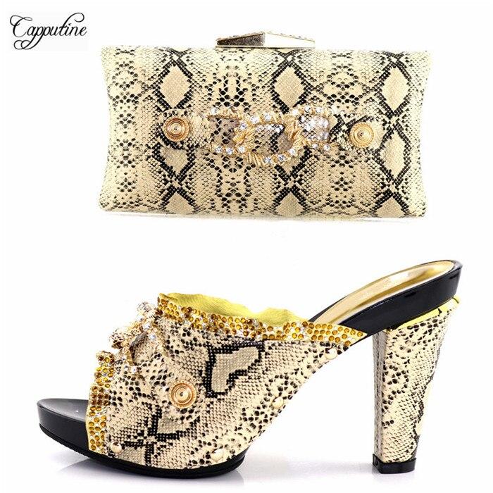 Благородный рисунок золотые сандалии обувь и сумки набор приятно соответствия для вечернее платье 506-8, Каблук 11,5 см, 7 цветов