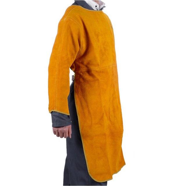 split cow leather welding jackets service work wear long style cowhide spark aprons