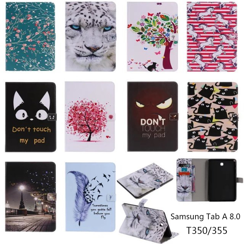 Print PU Leather Case Cover For Samsung Galaxy Tab A 8.0 T350 T351 SM-T355 Tablet Cases For Samsung T355 P355C P350 8 Inch