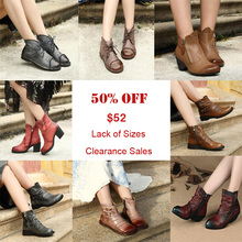 Clearance Sales Original Retro Genuine Leather Women Boots Handmade Soft Comfortable Ankle