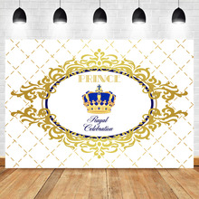 NeoBack Royal Boy Baby Shower Background Photography Celebration Prince Sapphire Crown White Plaid Backdrops