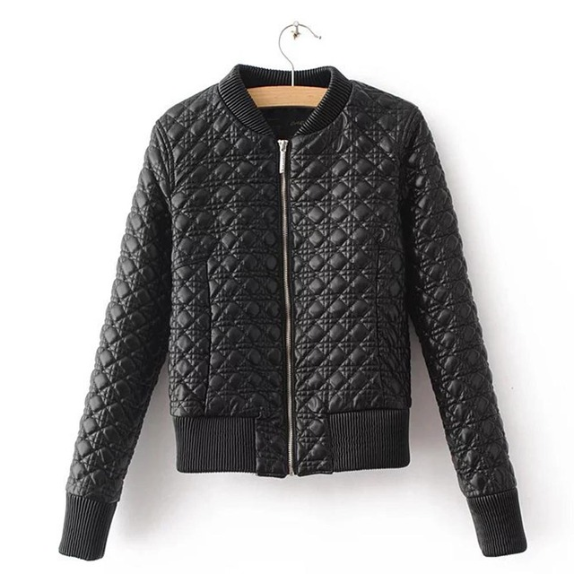 08cdef493 Candy Color Plaid Quilting Quilted PU Faux Leather Jacket Thin ...