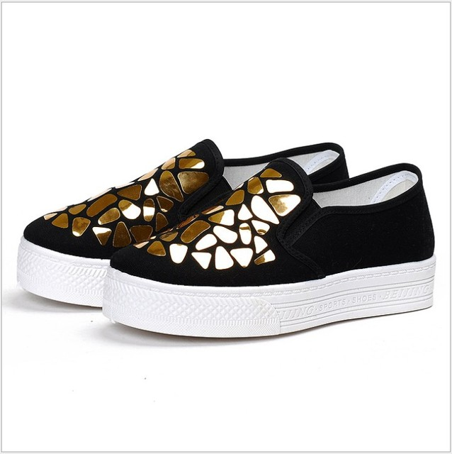 HEFLASHOR 2019 Fashion Women Loafers Vulcanize Shoes Canvas Sequins Sneakers Shoes Ladies Slip On Breathable Shallow Casual 4