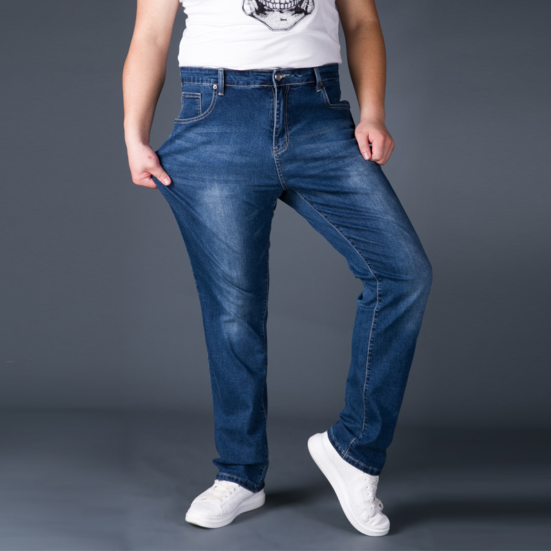 Jeans Man Middle-aged Denim Jeans Casual Middle Waist Loose Long Pants Male Solid Straight Jeans For Men Classical Size 42 44 afs jeep autumn jeans mens straight denim trousers loose plus size 42 cowboy jeans male man clothing men casual botton