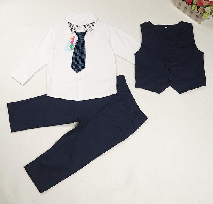 Gentleman Toddler Boy Clothing Wedding Clothes Children suit Kid Vest+Shirt+Pant+Tie 3pcs set 2-6Year/Autumn Baby Outfit BC1301