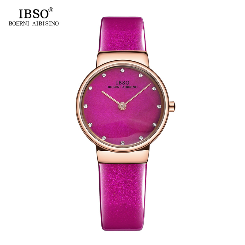 IBSO Pink Women Watches Fashion Red Leather Strap Montre Femme Brand Luxury Quartz Ladies Watches 2017 Relogio Feminino ibso top brand women watches 2017 shell dial genuine leather band watch women casual fashion quartz wristwatches montre femme