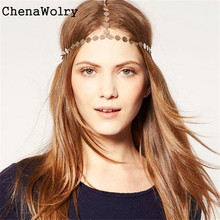 ChenaWolry 1PC Attractive Fashion Accessories Women Head Band Headband Hair Chain Vintage Gold Tone Party Headpiece Oct 12