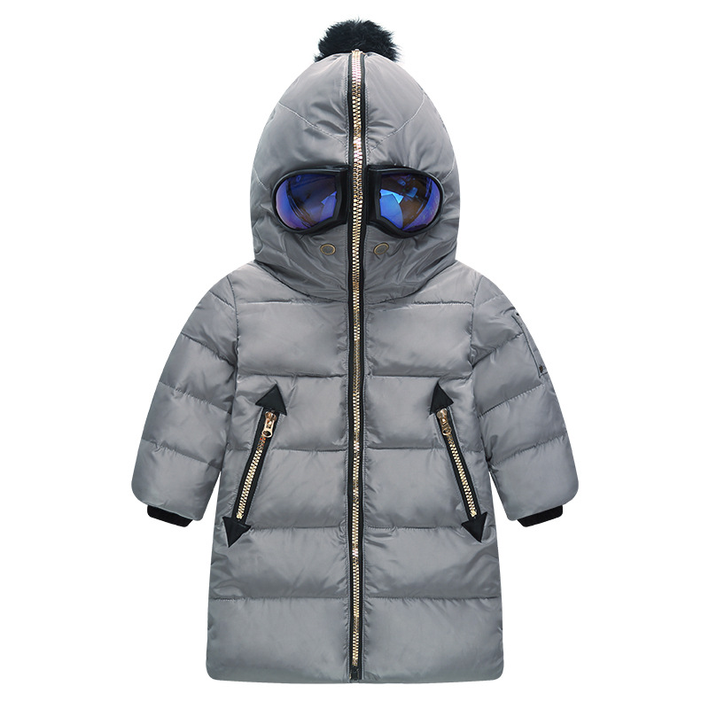 Fashion Boys winter Jackets Ultraman with Glass 80% White