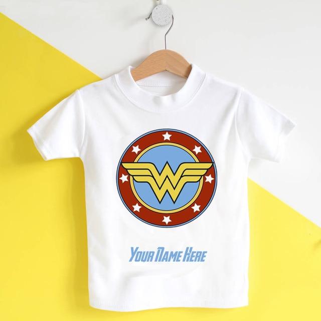b2cb6588d Mulher maravilha t-shirt personalizado roupa do aniversário do bebê meninas  camiseta marvel os vingadores