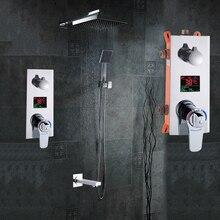 """حمام دش مجموعة 3 وظائف ثرموستاتي LED شاشة ديجيتال دش خلاط أخفى دش صنبور 10 """"الأمطار دش رئيس"""