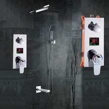 """浴室のシャワーセット 3 機能サーモスタット led デジタルディスプレイシャワーミキサー隠さシャワーの蛇口 10 """"降雨シャワーヘッド"""