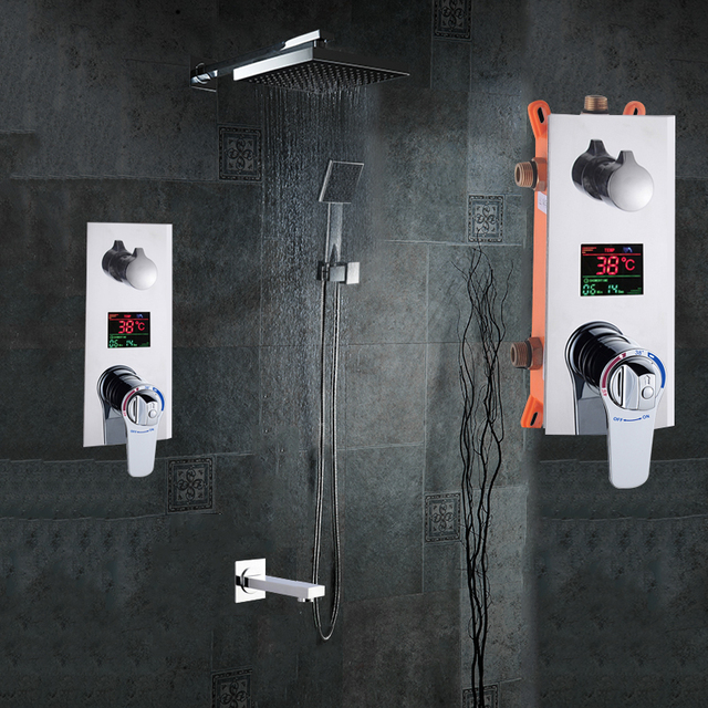 """Bathroom Shower Set 3 Functions Thermostatic LED Digital Display Shower Mixer Concealed Shower Faucet 10"""" Rainfall Shower Head"""