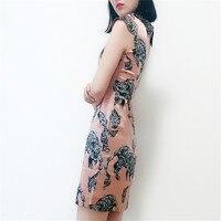 Pure Silk Dress Women Summer Natural Silk Animal Print Dresses Sheath Vintage Elegant Above Knee Length Real Silk Dress
