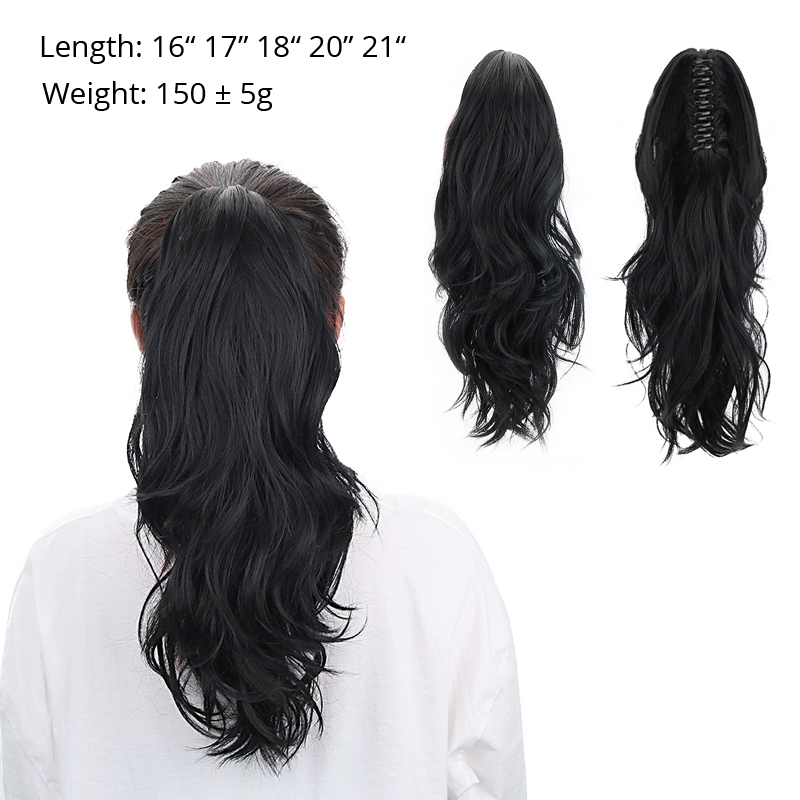 """Image 2 - 18""""Synthetic drawstring ponytail Claw Clip In Hair Extensions Hairpiece Natural Curly Clip In Human Hair Extensions Ponytail Wig-in Synthetic Ponytails from Hair Extensions & Wigs"""
