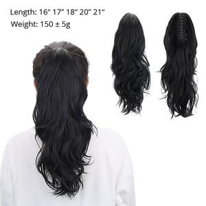 """Image 2 - Extensiones de cabello de cola de caballo con cordón sintético de 18 """", pinza de pelo rizado Natural, extensiones de cabello humano, coleta"""