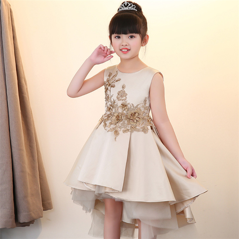 2019 New Children Girls Elegant champagne Color Birthday Wedding Evening Party Dress Babies Kids Ball Gown