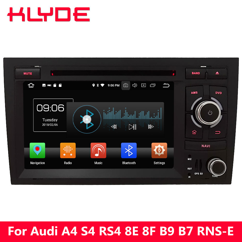 KLYDE 4G Android 8.0 Octa Core PX5 4 GB RAM 32 GB ROM voiture DVD lecteur multimédia Radio GPS Navigation pour Audi A4 S4 RS4/Seat Exeo