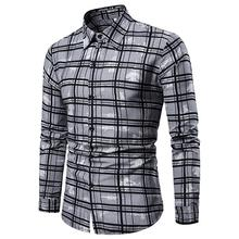 Plaid Long Mens Dress Shirts Plus size Lattice Grid Men's Shirts Long sleeve Check Blouse Men New