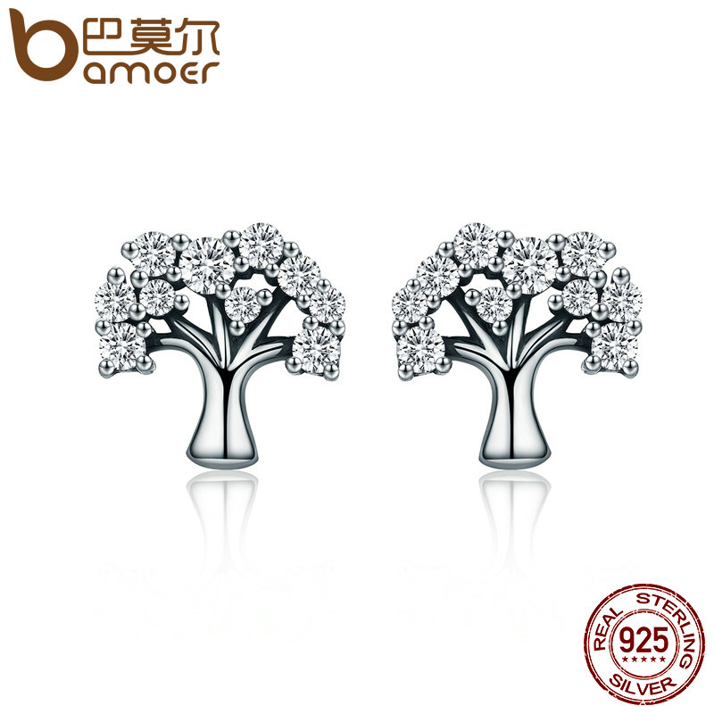 BAMOER Authentic 100% 925 Sterling Silver Tree of Life ,Clear CZ Stud Earrings for Women Sterling Silver Jewelry Brincos SCE068 pair of stylish rhinestone alloy stud earrings for women