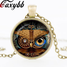 Buy owl clock pendant and get free shipping on aliexpress caxybb steampunk brown owl clock glass dome mozeypictures Images