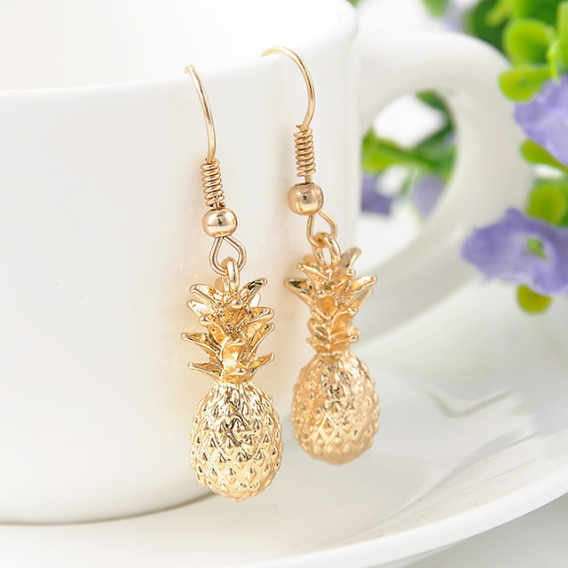Fashion women Gold Color Drangles Earrings Statement Pineapple Charms Earrings j