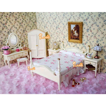 1:12 Wooden Dollhouse Miniature Furniture toy dolls cream simulation bed bedroom sets pretend play toys for kids girls gifts цена и фото