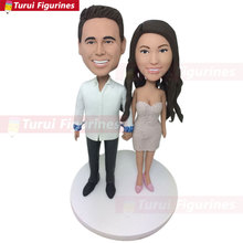 Personalized Wedding Cake Topper Bobble Head Clay Figurine Groom Bride Gifts Boyfriend Girlf