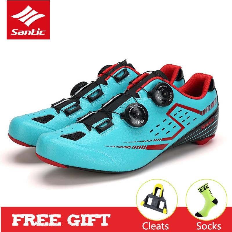 Santic hommes chaussures de cyclisme avec semelle extérieure en Fiber de carbone autobloquant chaussures de vélo de route athlétique chaussures de marque de vélo Zapatillas Ciclismo