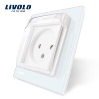 Livolo EU Standard Israel Power Socket White Crystal Glass Panel AC 100 250V 16A VL C7C1ILWF