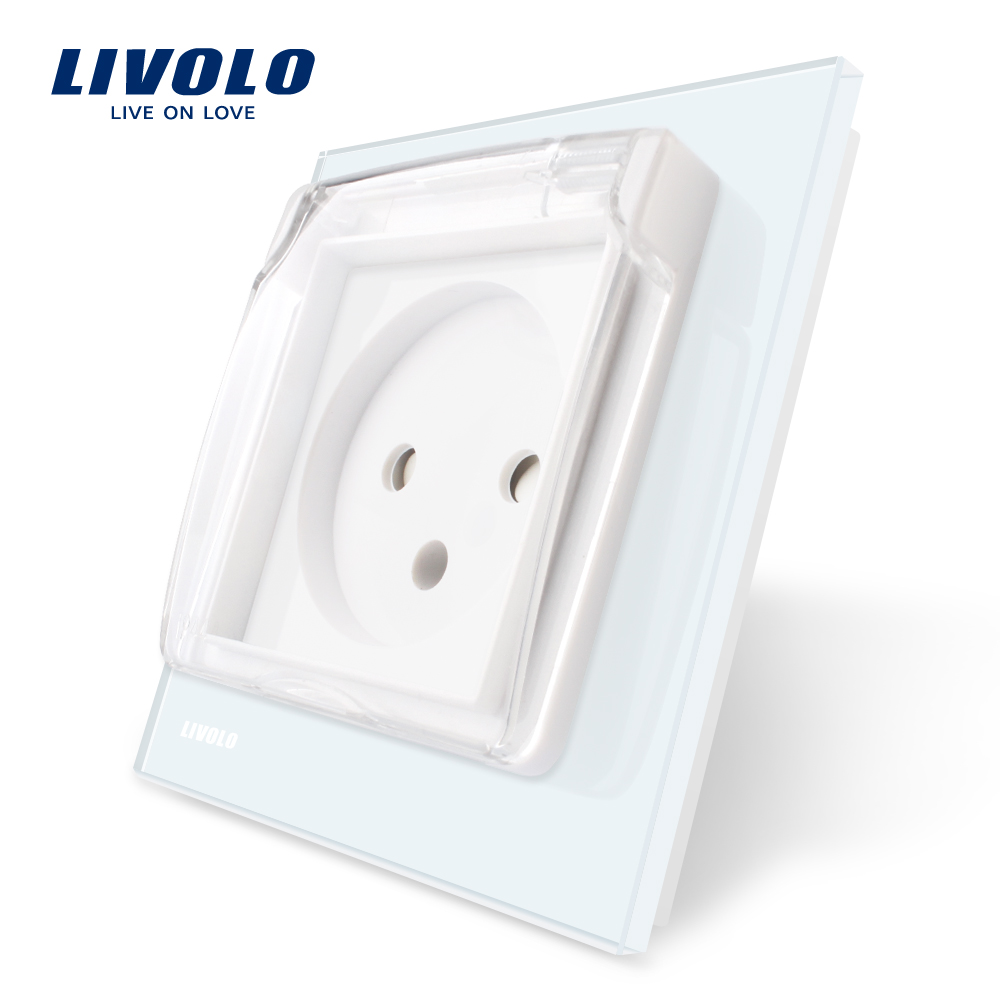 Livolo EU Standard Israel Power Socket, White Crystal Glass Panel, AC 100~250V 16A, VL--C7C1ILWF,with the Waterproof Cover.