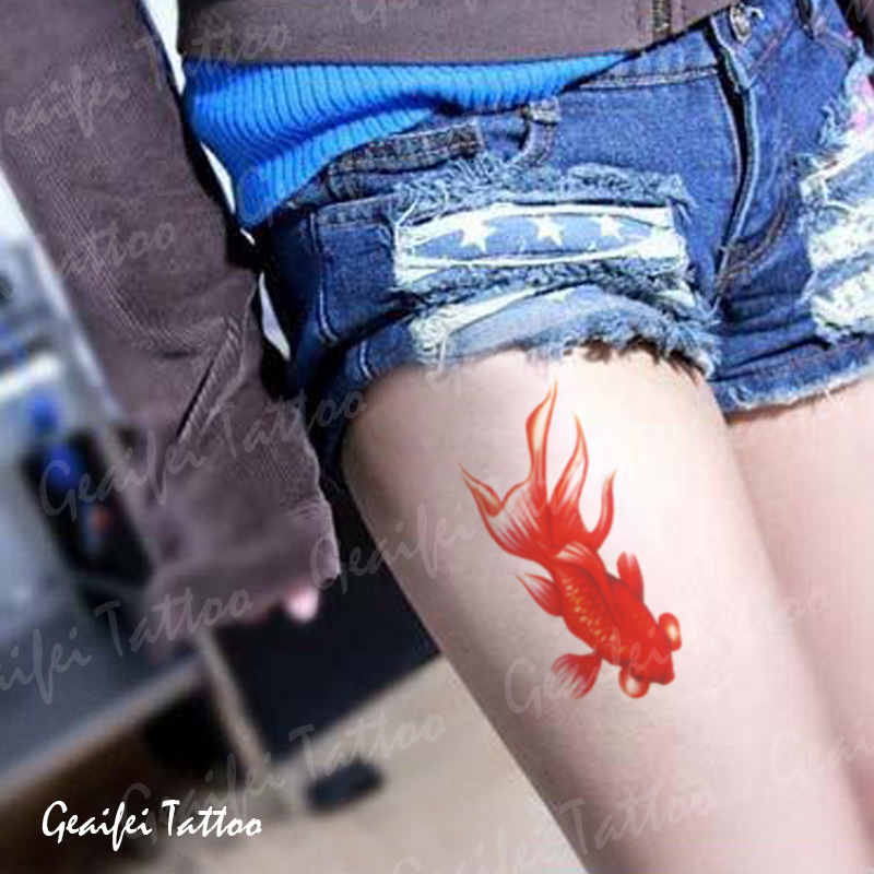 Temporary tattoo stickers waterproof women men sexy products - red goldfish designs body art fake arm leg tattoo