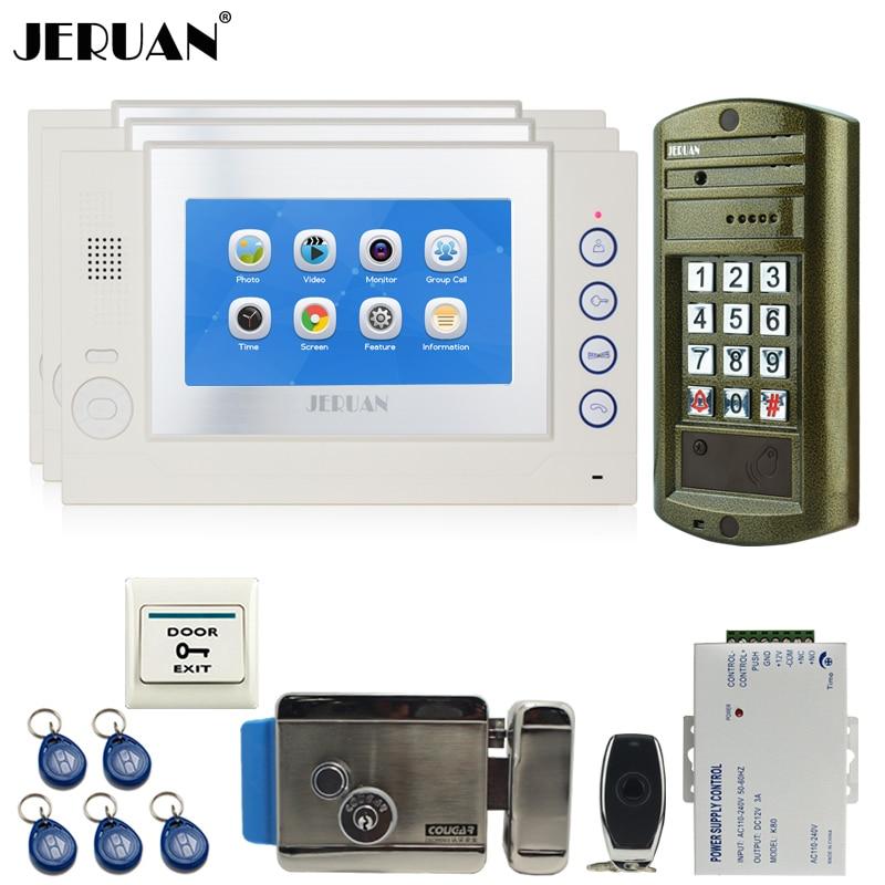 JERUAN Home 7`` Video Door Phone Intercom System kit 3 TOUCH SCREEN White Monitor +Metal waterproof password HD Mini Camera 1V3