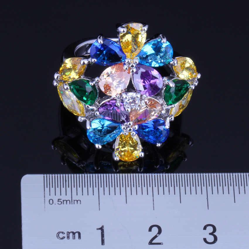 놀라운 거대한 멀티 보석 멀티 컬러 옐로우 큐빅 지르코니아 실버 도금 반지 V0163