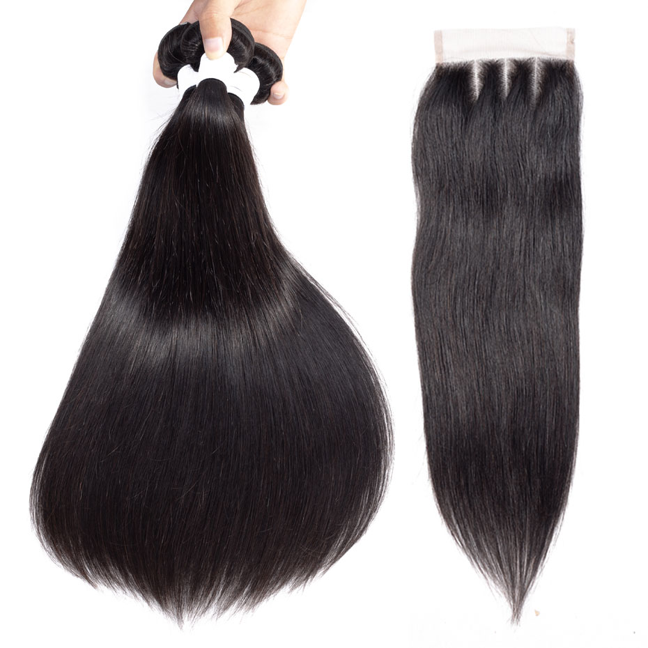Clover Leaf 100% Brazilian Remy Human Hair 3 Bundles With Lace Closure 4X4 Natural Black Straight Hair 10-28inch Free Shipping