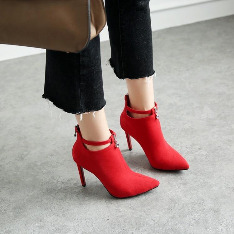 Negro Botas Fiesta Otoño rojo Corto Correa Zapatos Rojo Arranque Tacones Sexy Invierno Tacón Ymechic Negro De Tobillo Alto Mujer Señoras Rebaño XnHfqqFg
