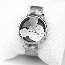 Fashion Brand Mickey Mouse Women Watch Casual Quartz Watches Hollow Crystals Stainless Steel Wristwatches zegarki meskie