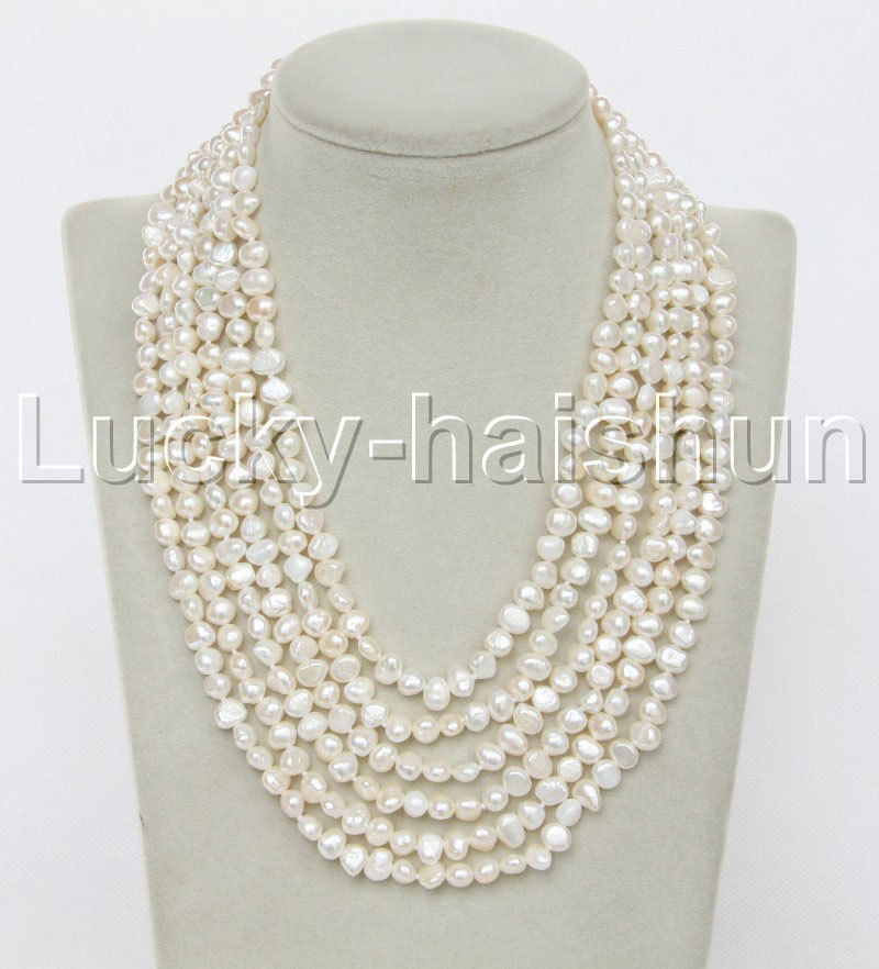 """Selling Jewelry>>>Genuine 17""""-22"""" 8mm 6row Baroque white Black pearls necklace magnet clasp j12290"""