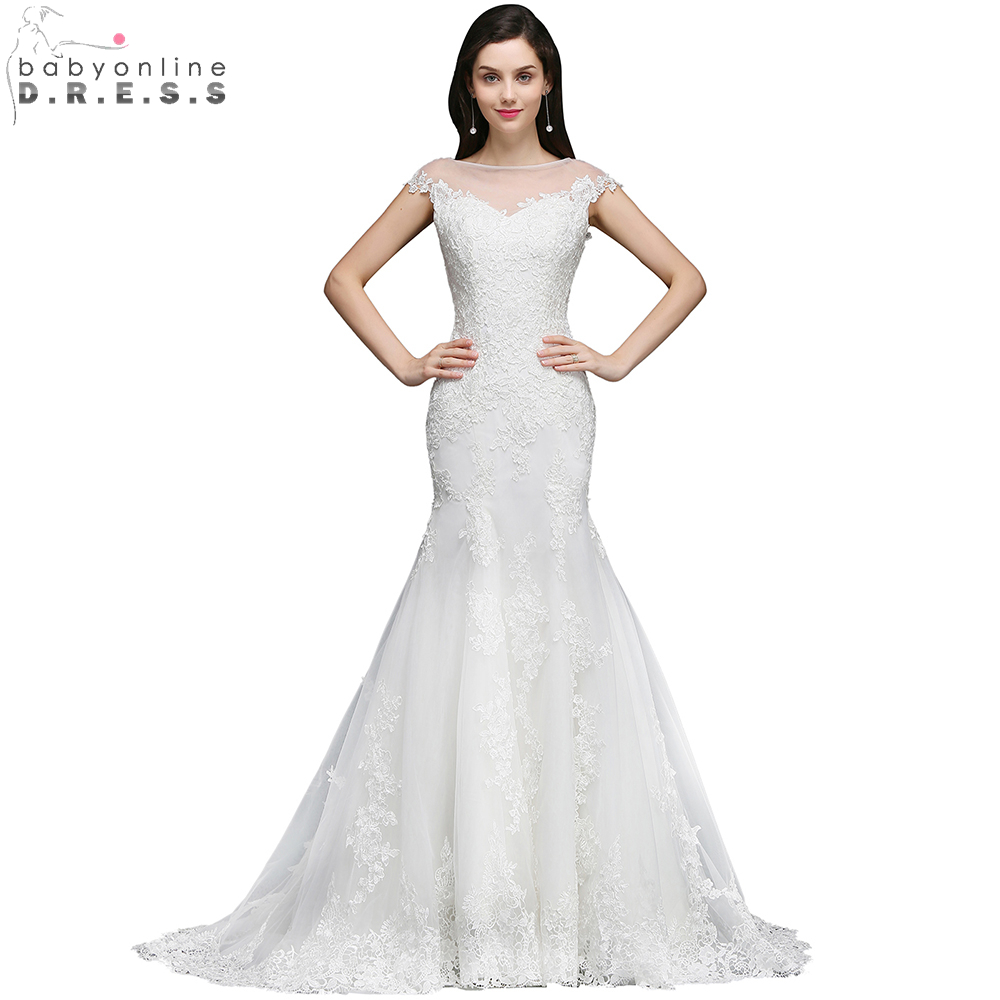 Babyonlinedress Charming Cap Sleeve Wedding Dresses 2018 Sexy O Neck Lace Appliques Mermaid Wedding Bridal Gowns Vestidos