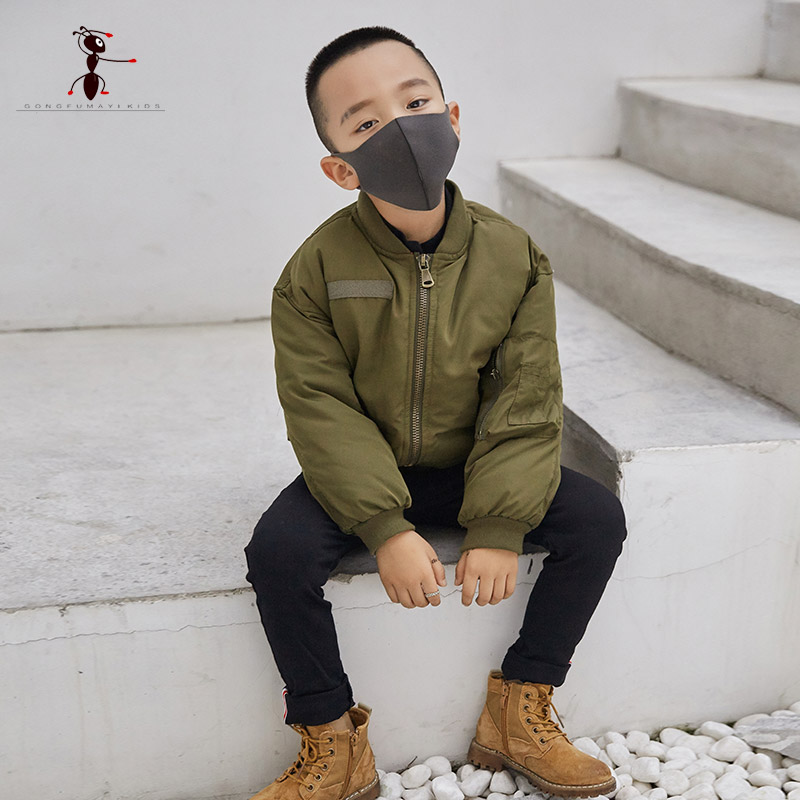 2017 New Arrival Cool Style Boy Black Army Jacket Kids Coat Letter Winter Street Home Short Children 1704310
